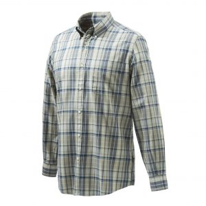 Beretta Classic Long Sleeve Shirt - Beige And Blue Check Front