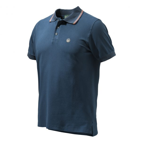MP411T13540504 Beretta Culture Polo Short Sleeve Blue Front