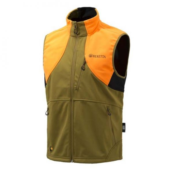 Beretta Soft Shell Fleece Vest Light Brown And Orange