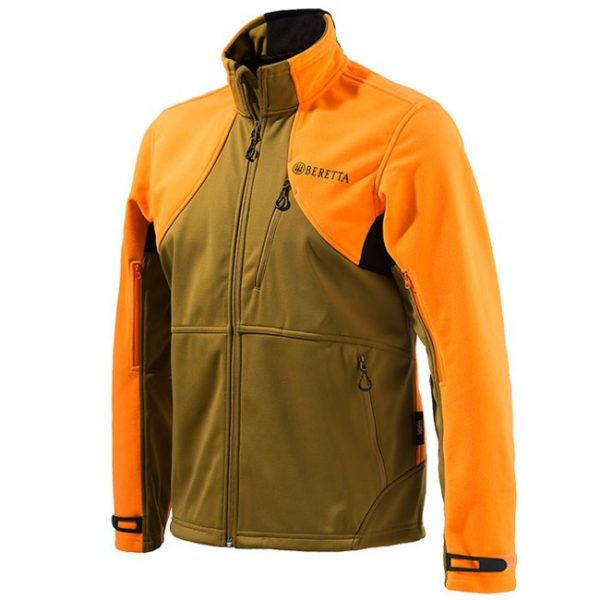 P3151T0655081G Beretta Soft Shell Fleece Jacket Light Brown And Orange Front