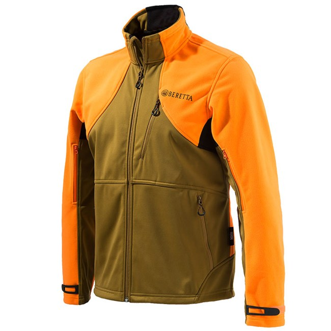 P3151T0655081G Beretta Soft Shell Fleece Jacket Light Brown And Orange Front