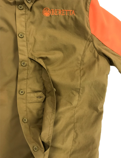 LD511T1184081GM Beretta Women UPLAND SHIRT LT BROWNORANGE Front Pocket