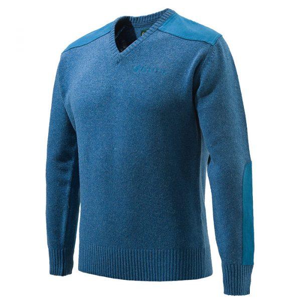 PU451T11940538 Beretta V Neck Sweater Blue Front