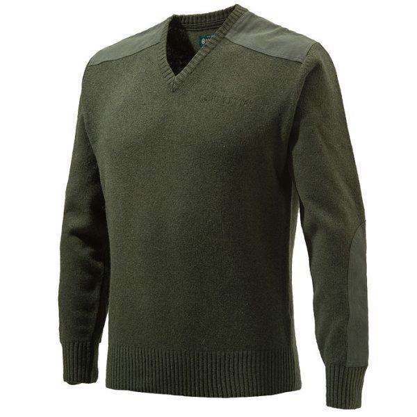 PU451T11940715 Beretta V Neck Sweater Green FRONT
