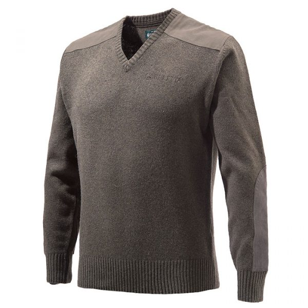 PU451T1194080P Beretta V Neck Sweater Brown Front