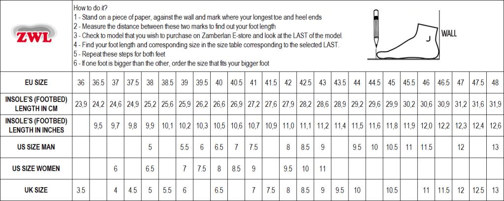 Sizing Chart Zamberlan Footwear