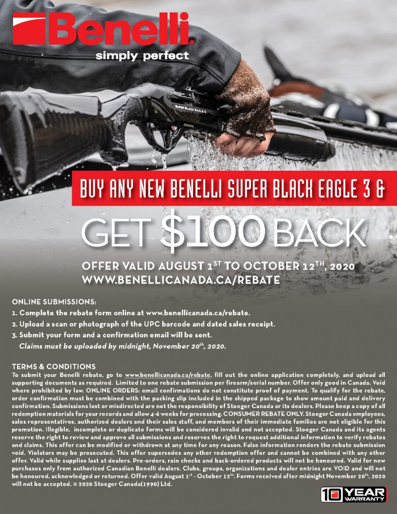 Benelli SBE3 100 Rebate 2020 Submission Information