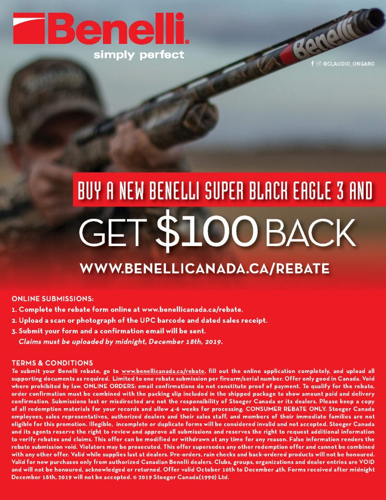 Benelli SBE3 Rebate 2019 Flyer Back