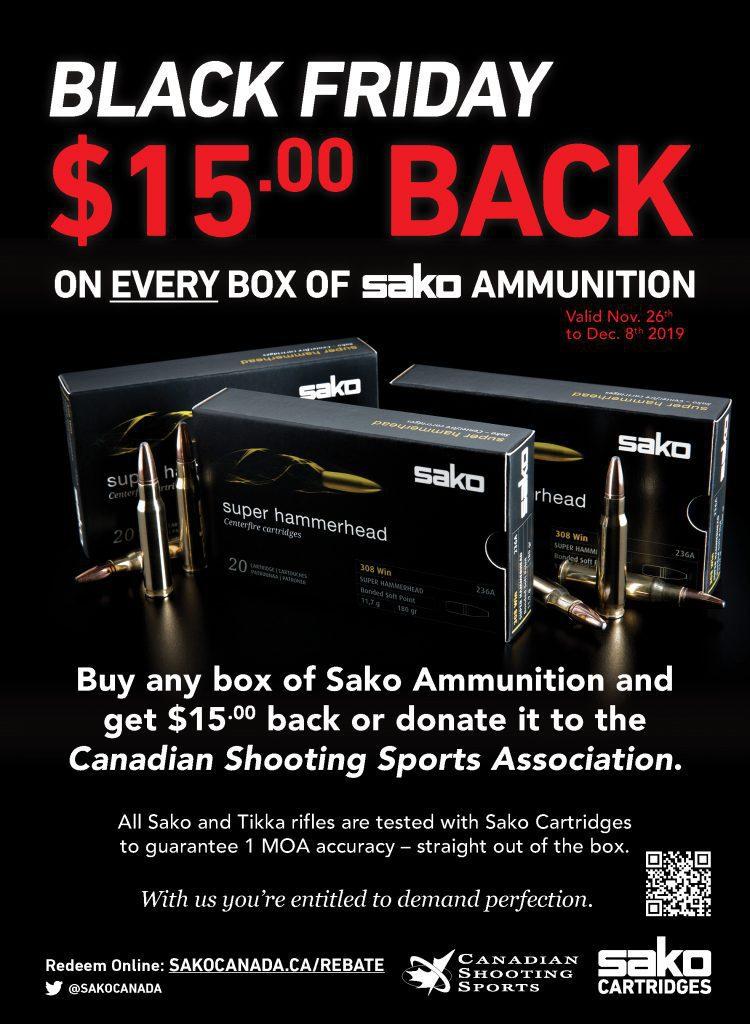 Sako Ammo Black Friday Promotional Poster 2019 $15 Rebate