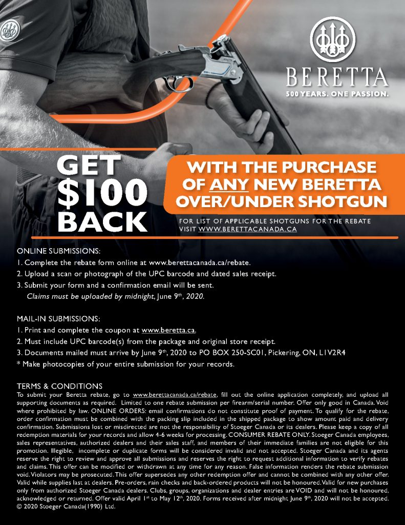 Beretta 100 Off OU Promotion 2020 Poster Back