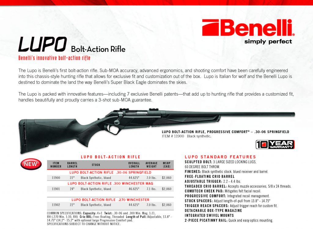 Benelli Canada Lupo Sell Sheet