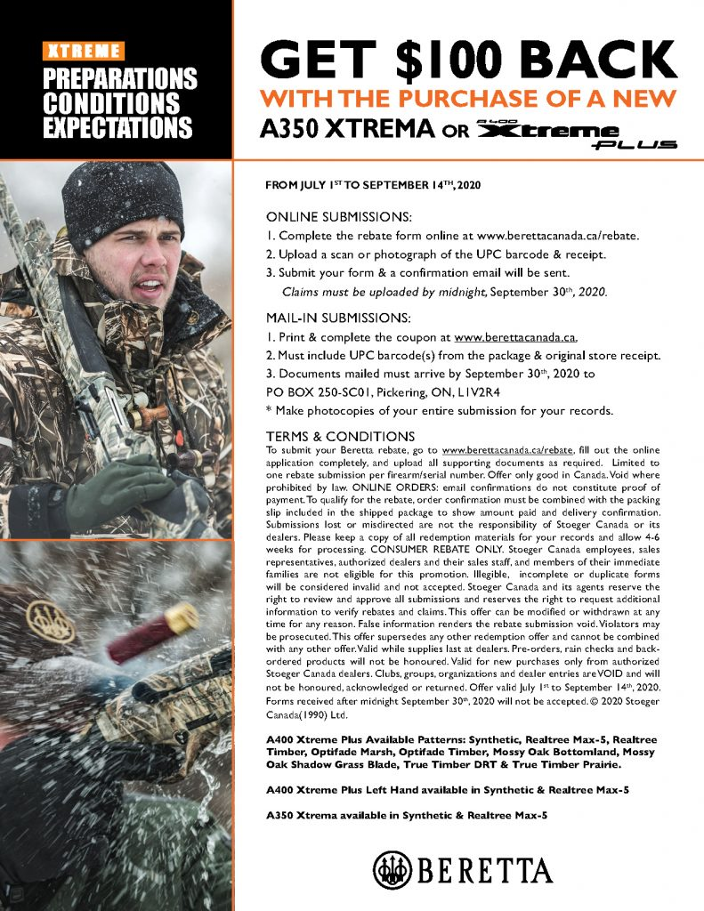 Beretta 100 Off A400XP Promotion 2020 Submission Information