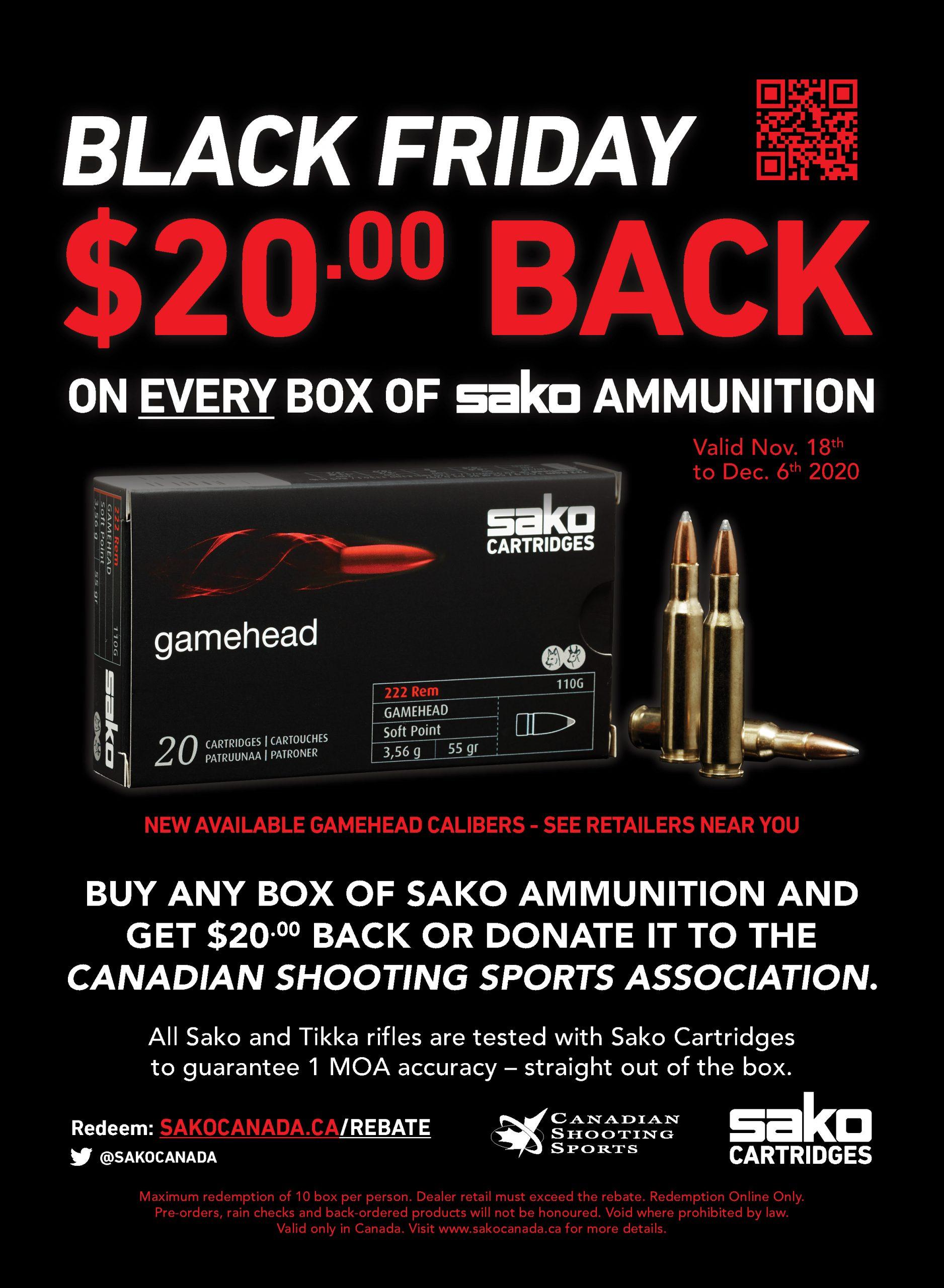 Sako Ammo Black Friday Promotional Poster 2020 20 Rebate