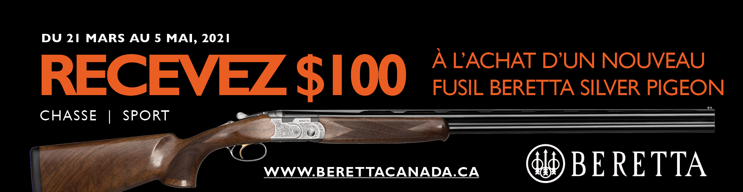 Beretta 100 off SP Promotion 2021 - Banner 600x155 - FR