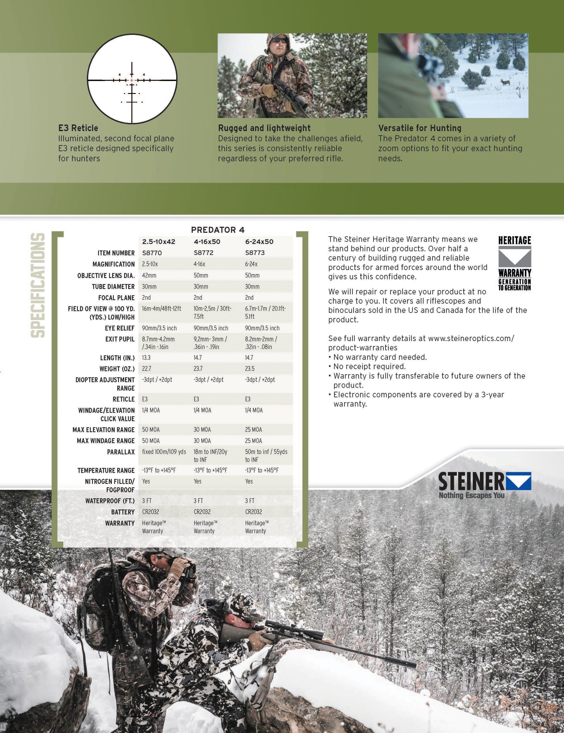 Steiner Predator 4 Sell Sheet Page 2
